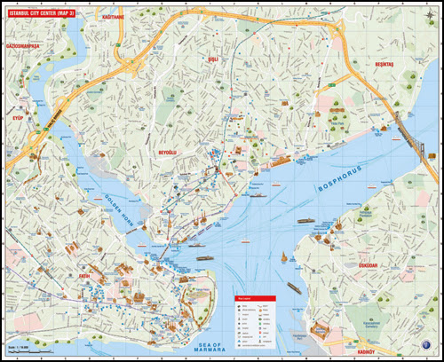 Plan touristique du centre ville d'Istanbul