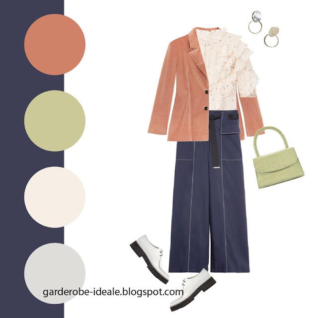 Блузка с рюшами с розовым жакетом и брюками карго