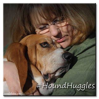 Woman and Basset Hound hugging