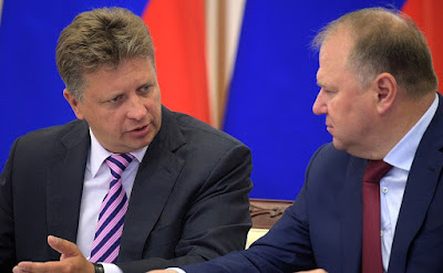 At a meeting on developing the transportation infrastructure in Russia's Northwest. Transport Minister Maxim Sokolov (left) and Plenipotentiary Presidential Envoy in the Northwest Federal District Nikolai Tsukanov.
