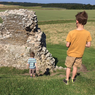 kids by ruins