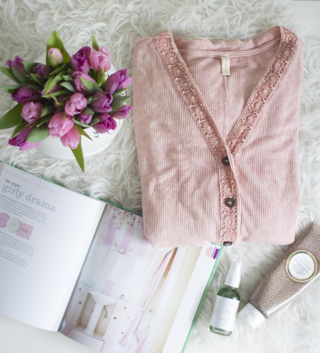 Pink Blush Waffle Knit Top