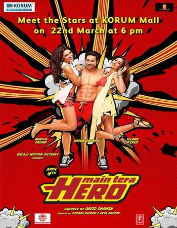 Poster Of Main Tera Hero 2014 Hindi 140MB BRRip HEVC Mobile Watch Online Free Download Worldfree4u