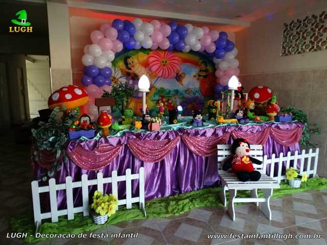 Decoração tema Jardim Encantado - Aniversário infantil - Mesa tradicional luxo de tecido