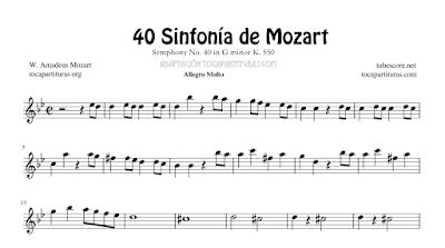Sinfonía Nº 40 de Mozart Partitura de Flauta, Violín, Saxofón Alto, Trompeta, Viola, Oboe, Clarinete, Saxo Tenor, Soprano Sax, Trombón, Chelo, Fagot, Trompa, Corno, Contrabajo, Tuba...Tablaturas de Guitarra, Tabs