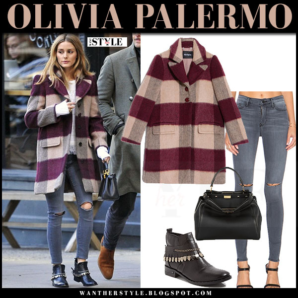 Olivia Palermo in burgundy check stripe print wool max and co coat, grey black orchid gisele jeans and black boots freda salvador what she wore