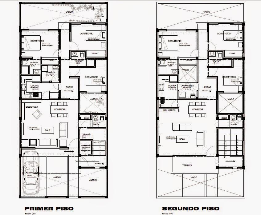 Oniria planos gratis de vivienda bifamiliar en terreno de for Planos de viviendas gratis