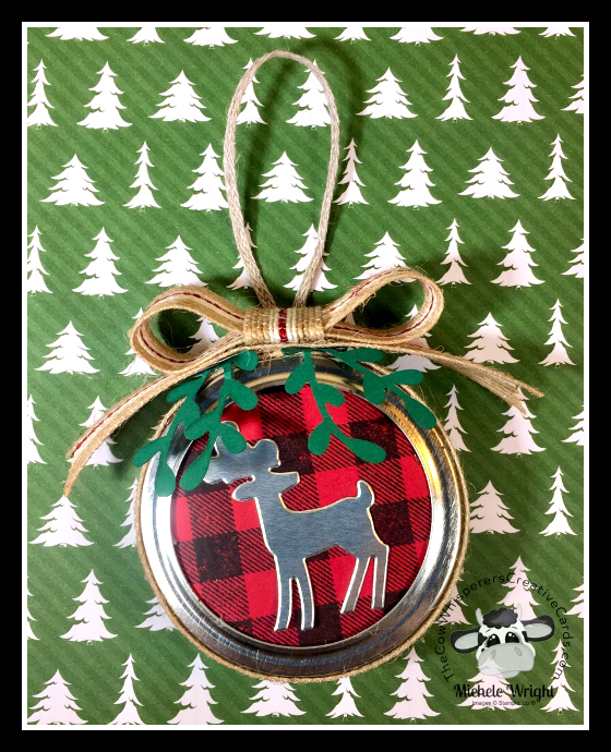 Ornament, Mason Jar Lid, Christmas, Burlap Trim