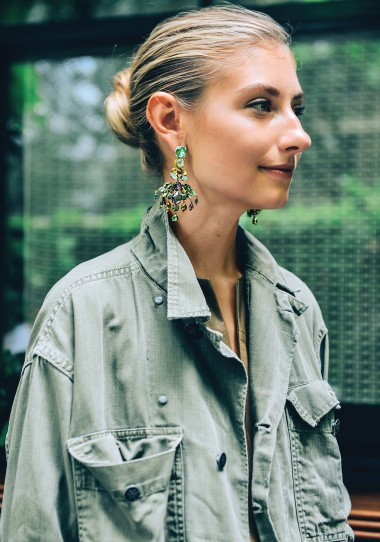 crystal earrings - chignon - military jacket | jenny walton by tommy ton