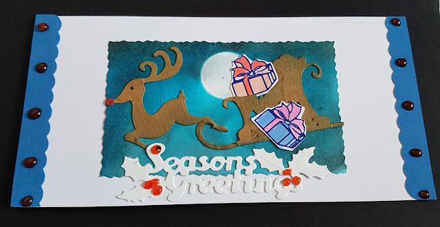 Season's Greetings Rudolph and parcels DL Christmas card