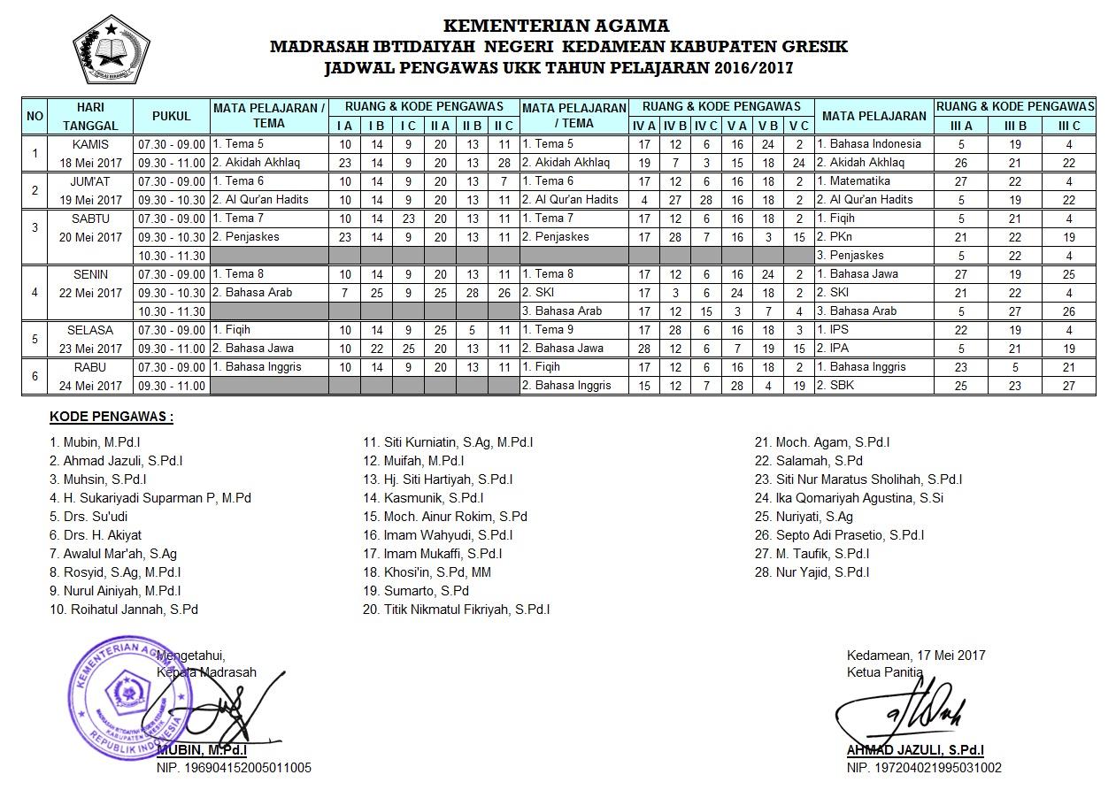 Jadwal UAS Genap tahun pelajaran 2016/2017.
