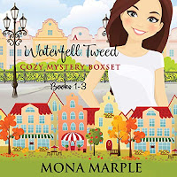 Waterfell Tweed Cozy Mystery Series: Box Set 1 audiobook cover, featuring a brightly-coloured, stylised image of a row of shops and a smiling brunette woman.