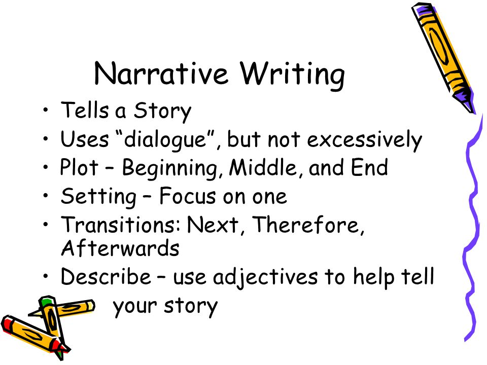 narrative styles of writing There are four main types of writing: expository, persuasive, narrative, and descriptive expository – writing in which author's purpose is to inform or explain the subject to the reader.