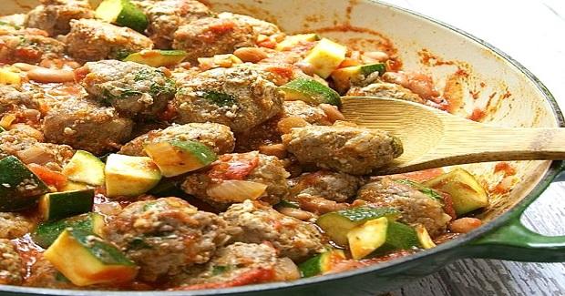 Spanish Meatballs (Albondigas) With Pintos, Zucchini And Tomato Recipe