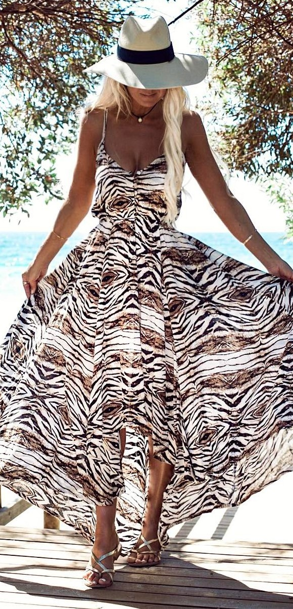 bohemian style addiction: hat + animal print dress