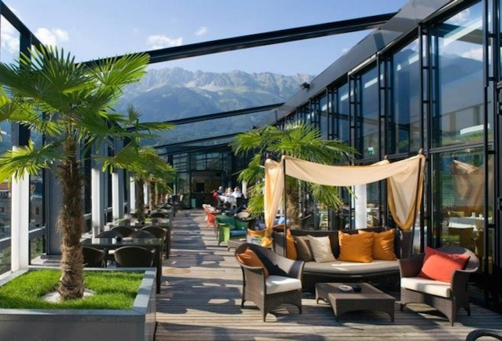 The World's 30 Best Rooftop Bars… Everyone Should Drink At #9 At Least Once. - The American Bar in the Penz Hotel overlooks the Alps in Innsbruck, Austria.
