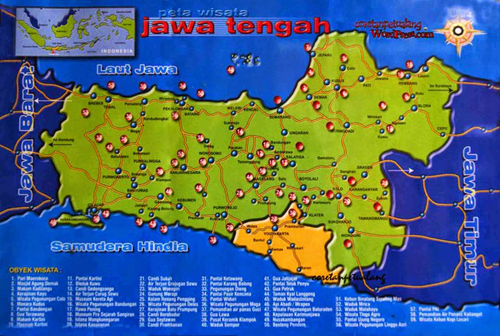Tourist Destinations In The Province Of Central Java Indonesia Map Of Central Java Province Indonesia