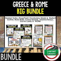 Ancient Greece, Ancient Rome, Ancient World History Mega Bundle, Ancient World History Curriculum, World History Digital Interactive Notebooks, World History Choice Boards, World History Test Prep, World History Guided Notes, World History Word Wall Pennants, World History Game Cards, World History Timelines