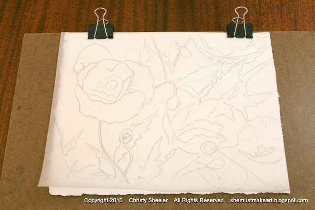 Poppies sketch on tracing paper.  Dancing Poppies watercolor painting planning stages.
