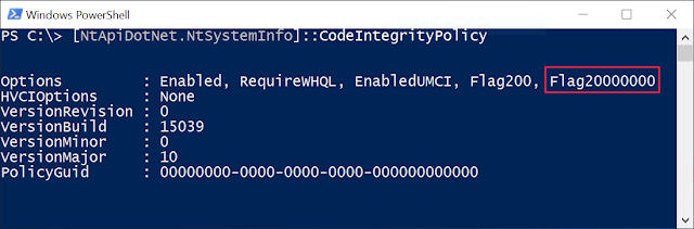 Calling NtSystemInfo::CodeIntegrityPolicy in Powershell on a SMode system showing Flag20000000