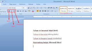 Fungi Bold, Italic dan Underline di Microsoft Word
