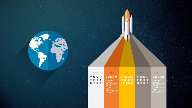 Free PowerPoint Template with Rocket Infographics and Banners