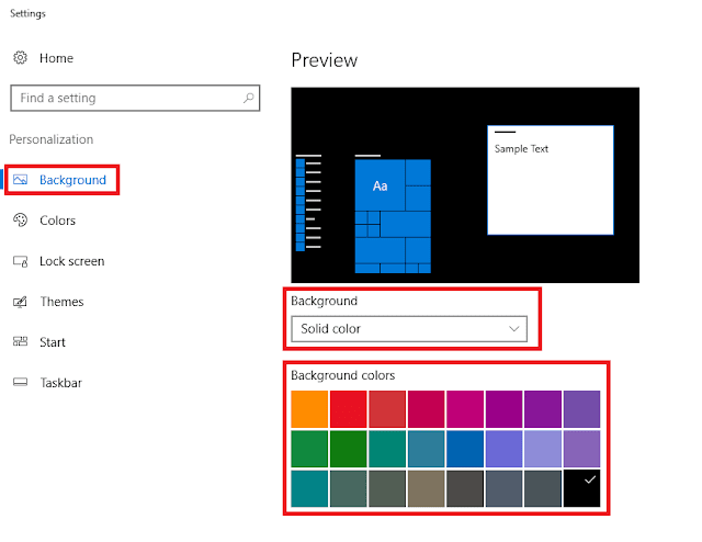 mengganti wallpapar desktop windows dengan warna polos / solid