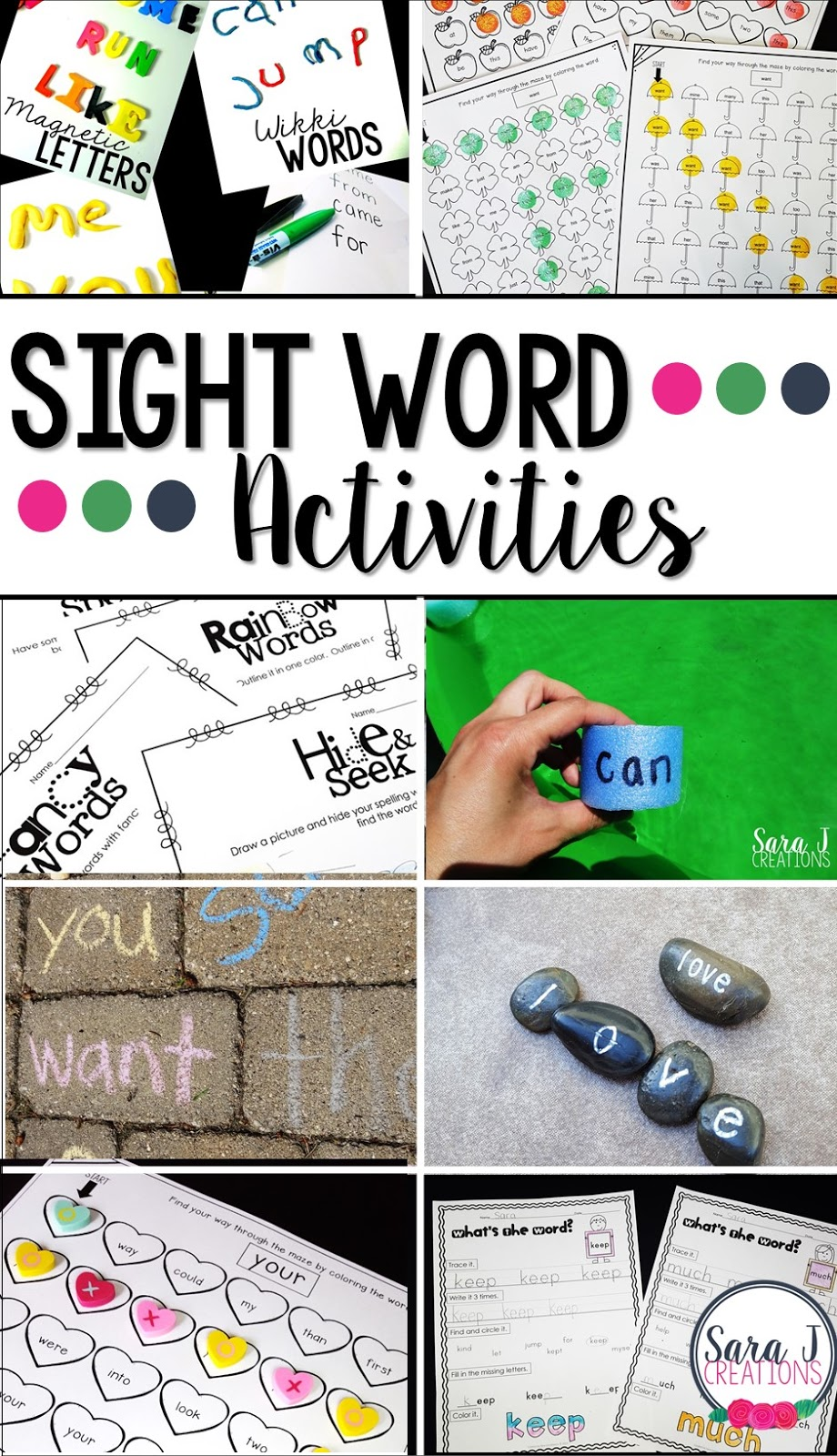 Love this list of sight word activities for teaching and practicing sight words. A good mix of printables and hands on activities. This is awesome for kindergarten, first grade and second grade.