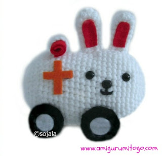 crochet kawaii white bunny ambulance