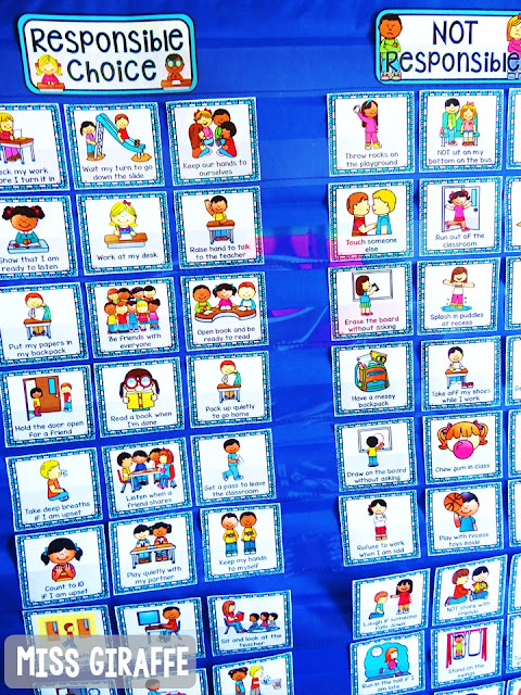 Classroom Management pocket chart sort where students sort each center card as being a responsible choice or not responsible - so many awesome character lessons you could do with this!
