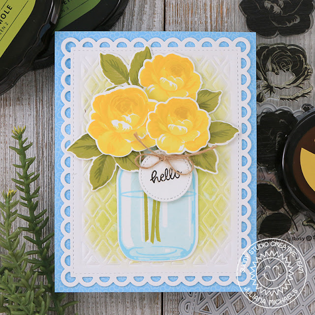 Sunny Studio Stamps: Everything's Rosy Frilly Frames Lattice Vintage Jar Hello Card by Juliana Michaels