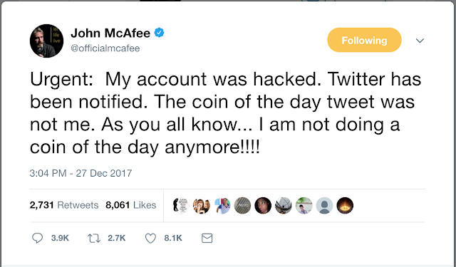 John McAfee's Twitter account hacked