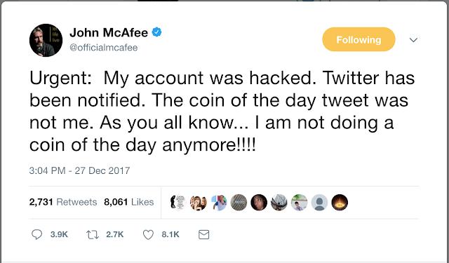 John McAfee's Twitter account hacked