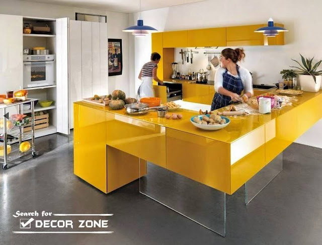 Lovely Stylish Small Kitchen Apartment Design Ideas 2016 with Yellow colors