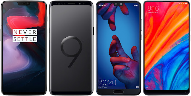 OnePlus 6 vs Samsung Galaxy S9 vs Huawei P20 vs Xiaomi Mi Mix 2S