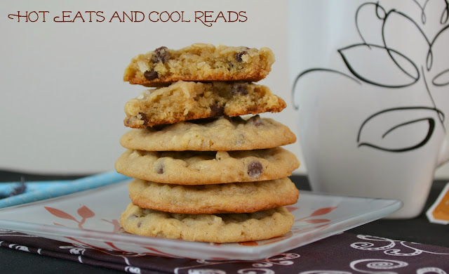 Oatmeal, Coconut and Mini Chocolate Chip Cookies Recipe from Hot Eats and Cool Reads! Delicious, chewy cookies that are ready in a snap! Perfect for Christmas, lunches, snack time or bake sales!