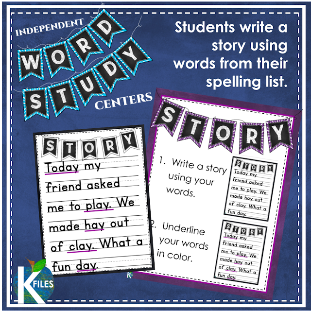 Enhance your Word Study and Phonics/Spelling routine with these Independent center activities and task cards. Supplement your Daily 5, Working With Words, and Words Their Way centers with magnets, letter tiles, word family houses, rainbow write, story writing and hands on activities Each activity includes step-by-step VISUAL directions to help your students complete each task with accuracy. TheKausFiles.blogspot.com