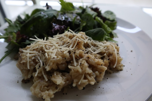 Plate of Mushroom Risotto cooked with a pressure cooker.