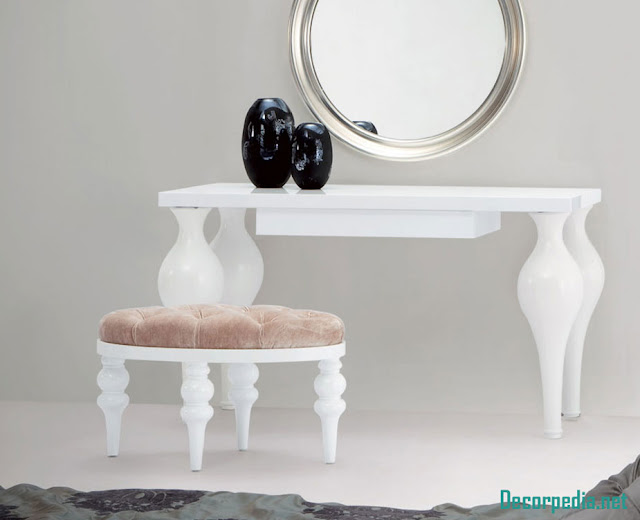 Modern dressing table design ideas with mirror, white dressing table