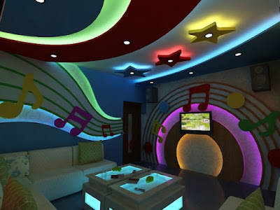 artistic gypsum board wall ideas and false ceiling designs with LED indirect lighting