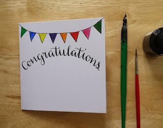 Bespoke Congratulations card :: www.AliceDrawsTheLine.co.uk