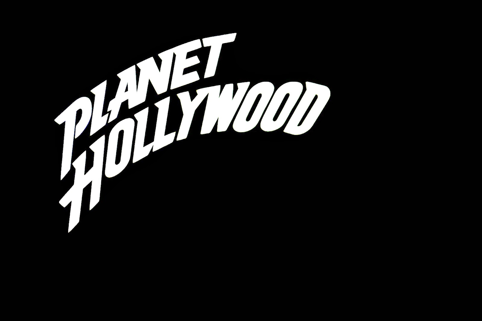 The sign for Planet Hollywood all lit up