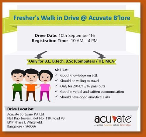Acuvate Walk-in Drive of freshers for BE/B.Tech/B.Sc/MCA graduates 1