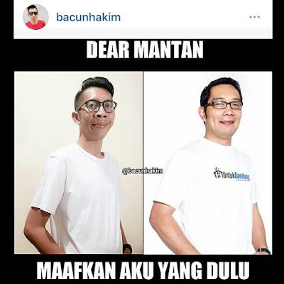 Meme #DearMantan di Instagram milik Ridwan Kamil.