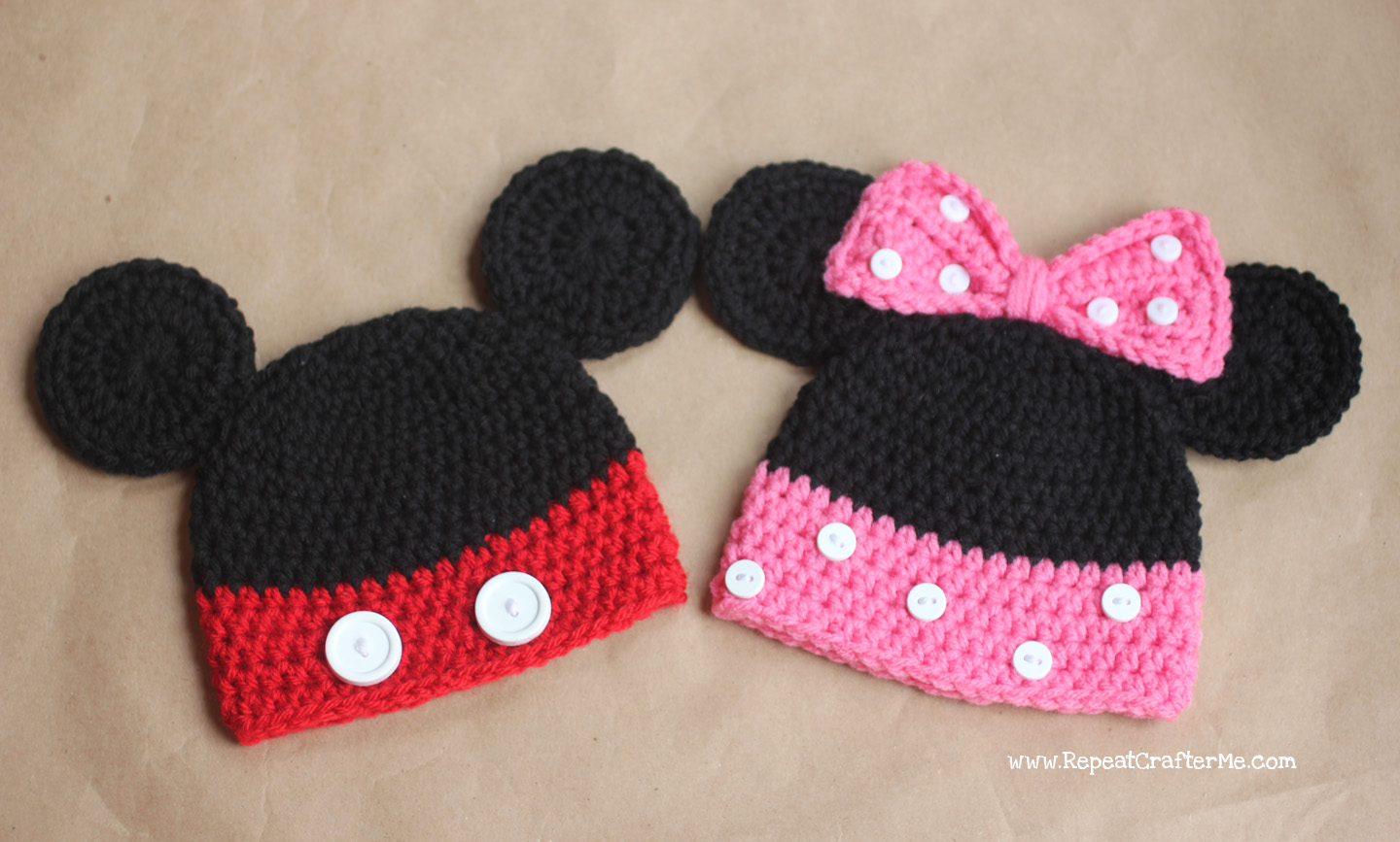 Mickey and Minnie Mouse Crochet Hat Pattern - Repeat Crafter Me d7c87f5aa55