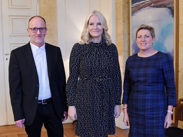 Princess Mette Marit wore Valentino tweed floral print dress, By Ti Mo printed dress, diamond earrings