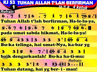 Lirik dan Not Kidung Jemaat 53 Tuhan Allah T'lah Berfirman