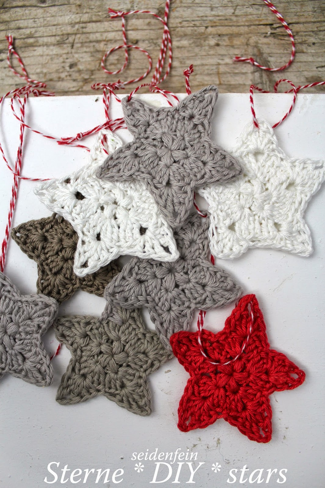 seidenfeins blog vom sch nen landleben 11 sternchen anh nger diy crochet some stars. Black Bedroom Furniture Sets. Home Design Ideas