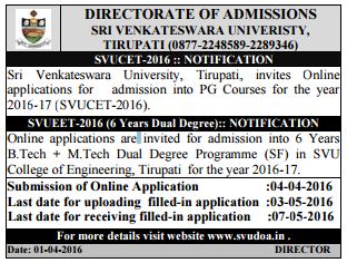 SVU PGCET Notification 2016 SVUCET Apply Online