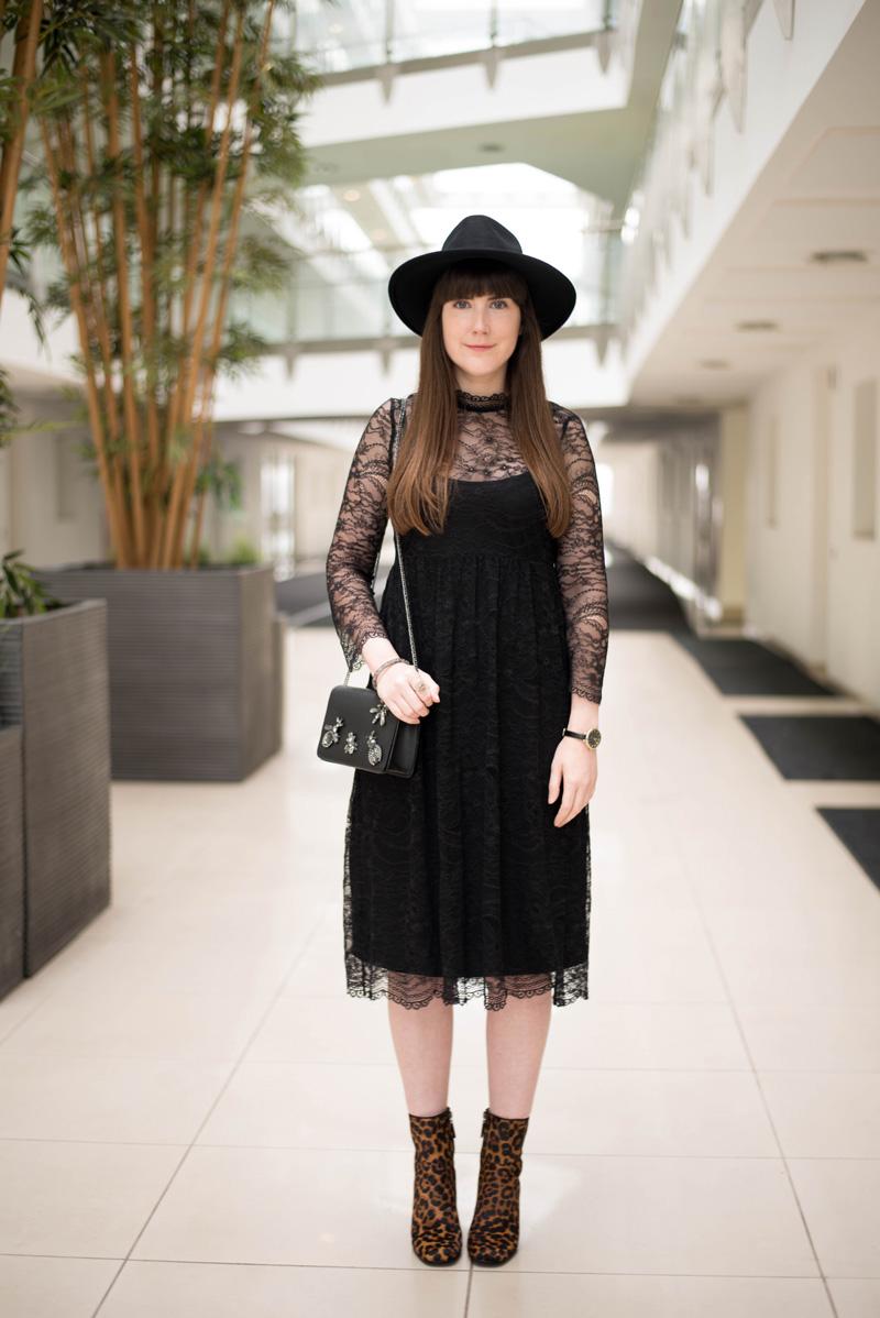 Zara Black Lace Midi Dress